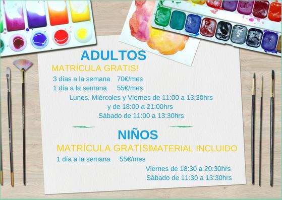 horario-clases pintura y dibujo